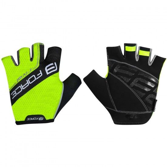 Force Rival Short Finger Cycling Gloves Fluo Yellow/Black (9052442)