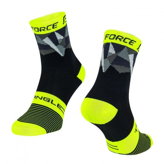 Force Triangle Cycling Socks Black-Fluo Yellow (900922-23)