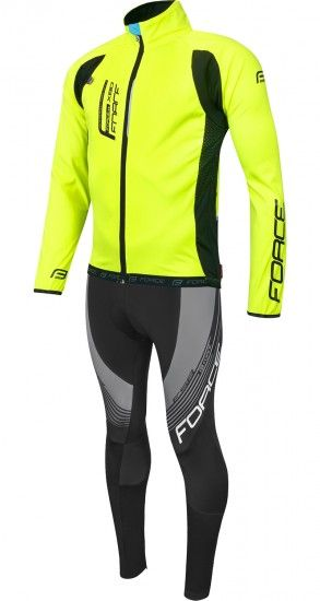 Force Xf Cycling Set (Softshell Cycling Jacket + Cycling Bib Tights) Yellow Fluo/Black