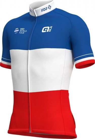 Alé Groupama-Fdj French Champion 2018/19 Short Sleeve Cycling Jersey (Long Zip) - Ale Professional Cycling Team