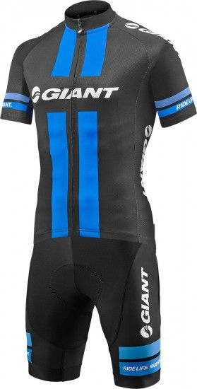 Giant Race Day Cycling Set (Short Sleeve Jersey + Cycling Strap Trousers) Black-Blue