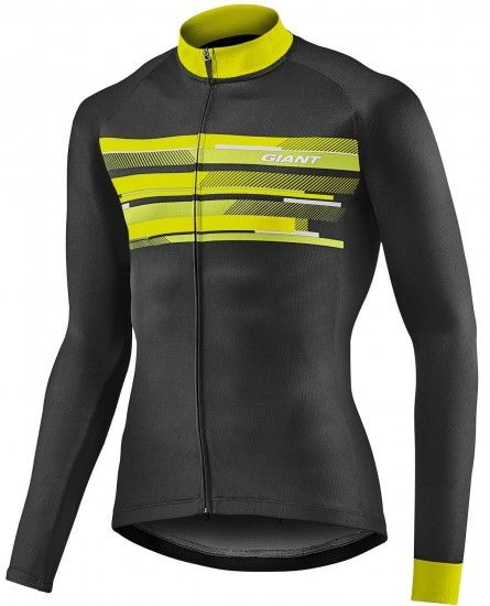 Giant Rival Long Sleeve Cycling Jersey Black/Yellow (E19)