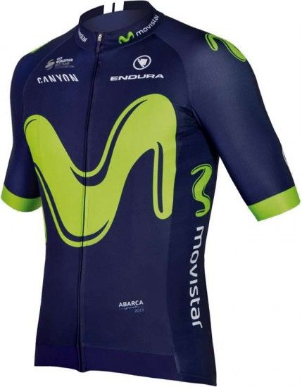 Endura Movistar 2017 Short Sleeve Jersey (Continuous Zipper)- Professional Cycling Team