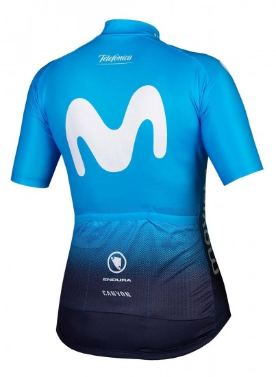 Endura Movistar 2019 Womens Short Sleeve Cycling Jersey (Continuous Zipper)- Professional Cycling Team