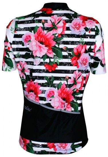 Nalini Moderna 2.0 Womens Short Sleeve Cycling Jersey Black/White/Rosa (Flower,E19-4099)
