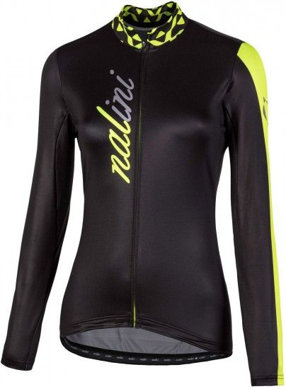 Nalini Pro Lw Lady Jersey Womens Long Sleeve Cycling Jersey Black/Yellow (I18-4050)
