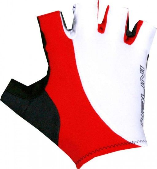 Nalini Pro Logo Gloves Short Finger Gloves White/Red (E18-4100)