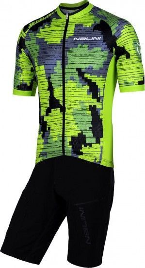 Nalini Cycling Set (Mtb Short Sleeve Jersey Cross 2.0 + Bike Short Click Short) Black (E19)