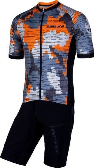 Nalini Cycling Set (Mtb Short Sleeve Jersey Cross 2.0 + Bike Short Click Short) Orange (E19)