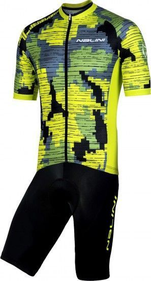 Nalini Cycling Set (Mtb Short Sleeve Jersey Cross 2.0 + Bibshort Squadra) Yellow (E19)