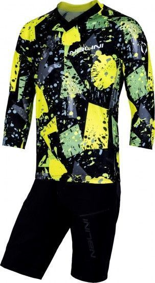 Nalini Cycling Set (Mtb Short Sleeve Jersey Hill + Bike Short Click Short) Yellow/Black (E19)
