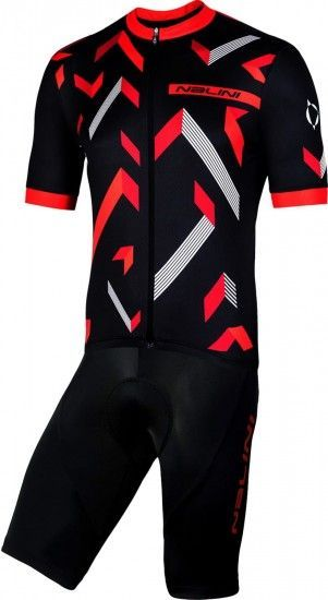 Nalini Cycling Set (Jersey Discesa 2.0 + Bibshort Squadra) Black/Red (E19)