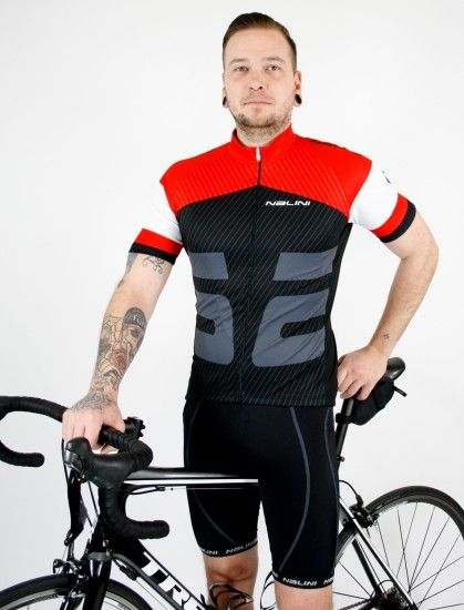 Nalini Cycling Set (Jersey Rison + Bibshort Dakuna) Red/Black (E19)