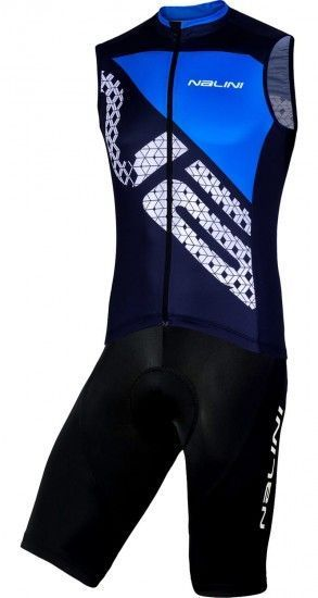 Nalini Cycling Set (Sleeveless Jersey Volata 2.0 + Bibshort Squadra) Blue/Black (E19)