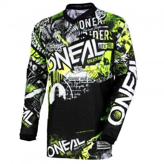 O'Neal Element Attack Long Sleeve Cycling Jersey Mtb/Freeride Black/Hi-Viz