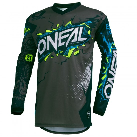 O'Neal Element Villain Long Sleeve Cycling Jersey Mtb/Freeride Gray
