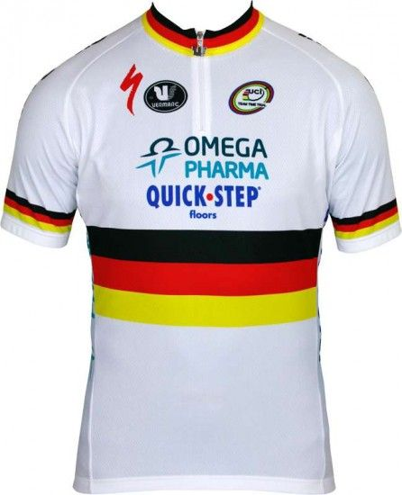Vermarc Omega Pharma-Quickstep German Time Trail Champ 2013 Professional Cycling Team - Cycling Jersey With Short Zip