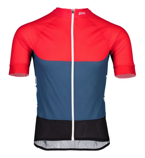 Poc Essential Road Light Short Sleeve Cycling Jersey Red/Blue (Lead Blue/Prismane Red)
