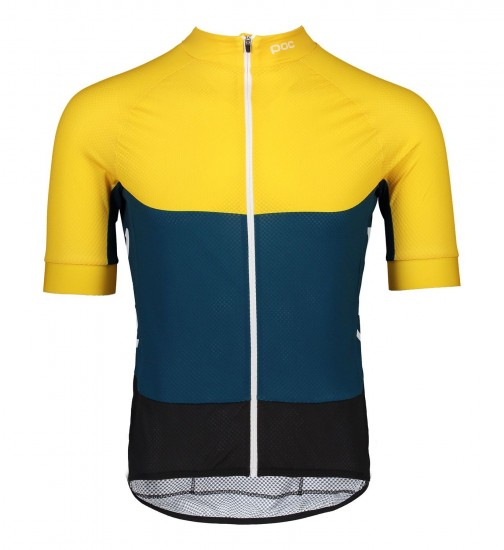 Poc Essential Road Light Short Sleeve Cycling Jersey Yellow/Blue (Sulphite Yellow/Draconis Blue)