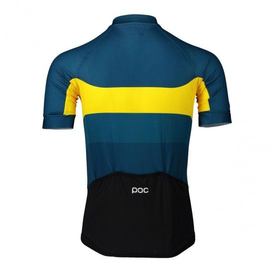 Poc Essential Road Logo Short Sleeve Cycling Jersey Yellow/Blue (Sulphite Multi Yellow)