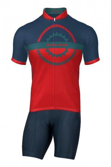 Pearl Izumi Ltd Cycling Set (Short Sleeve Jersey Long Zip + Bib Shorts) Red/Navy