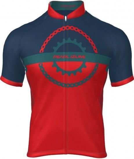 Pearl Izumi Select Escape Ltd Short Sleeve Cycling Jersey Chain Ring Torch Red/Teal/Navy