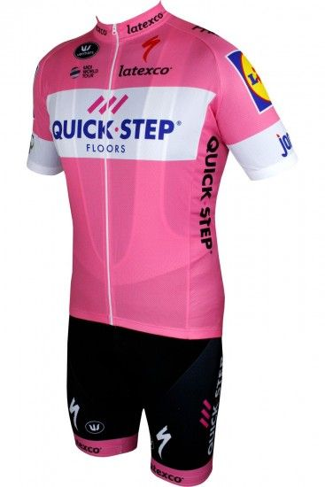 Vermarc Quick-Step Floors 2018 Giro Special Edition Set Rosa (Jersey Long Zip + Bib Short) - Professional Cycling Team
