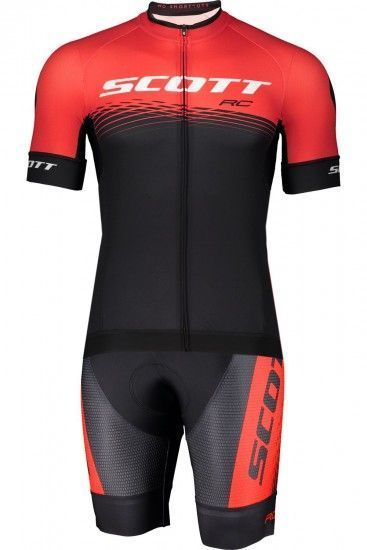 Scott Rc Pro Cycling Set (Short Sleeve Jersey Long Zip + Bib Shorts) Black/Red