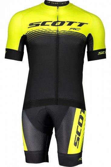 Scott Rc Pro Cycling Set (Short Sleeve Jersey Long Zip + Bib Shorts) Black/Yellow Fluo