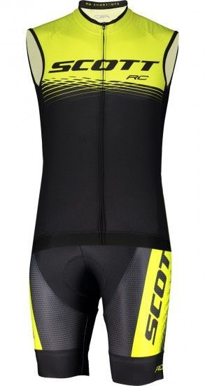 Scott Rc Pro Cycling Set (Sleeveless Cycling Jersey + Bib Shorts) Black/Yellow Fluo