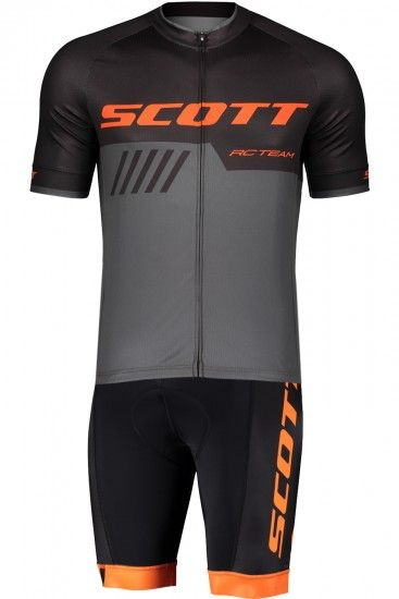 Scott Rc Team 10 Cycling Set (Short Sleeve Jersey Long Zip + Bib Shorts) Black/Orange