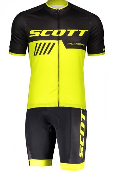 Scott Rc Team 10 Cycling Set (Short Sleeve Jersey Long Zip + Bib Shorts) Black/Yellow Fluo