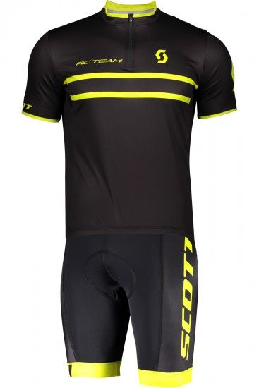 Scott Rc Team 20 Cycling Set (Short Sleeve Jersey Short Zip + Cycling Shorts) Black/Yellow Fluo