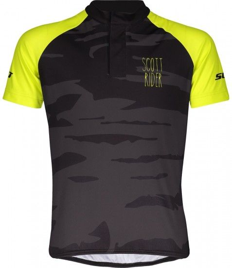 Scott Rc Team Jr Kids Short Sleeve Cycling Jersey Black/Sulphur Yellow (270574)