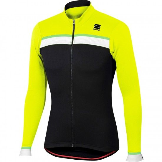 Sportful Pista Thermal Jersey Thermo Long Sleeve Cycling Jersey Black/Fluo Yellow