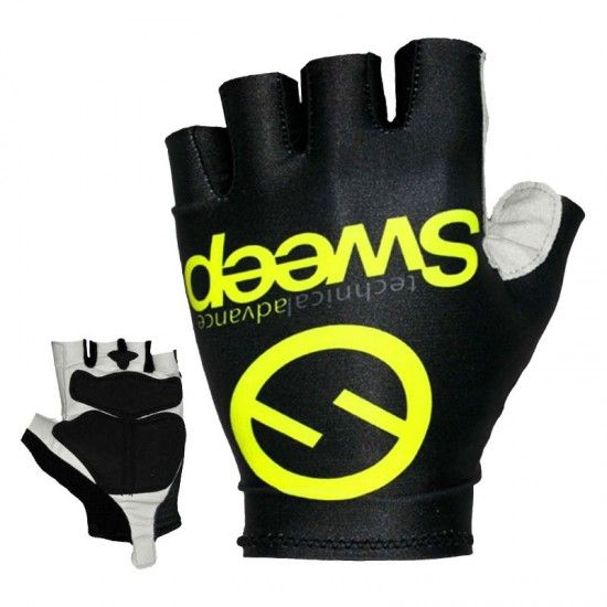Sweep Advance Short Finger Cycling Gloves Black/Yellow Fluo (Sgl008)