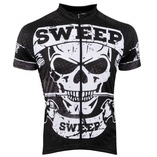 Sweep Basic Skull Short Sleeve Cycling Jersey Black/White (D047)