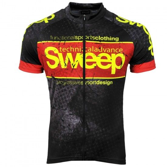 Sweep Classic Progressive Short Sleeve Cycling Jersey Black/Red (D040)