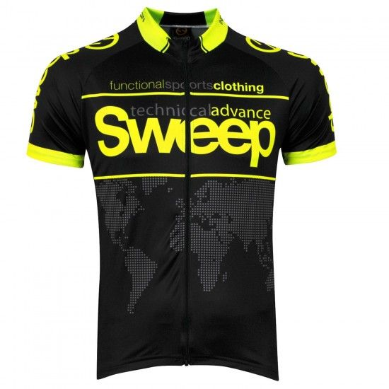 Sweep Classic World Short Sleeve Cycling Jersey Black/Yellow Fluo (D031)