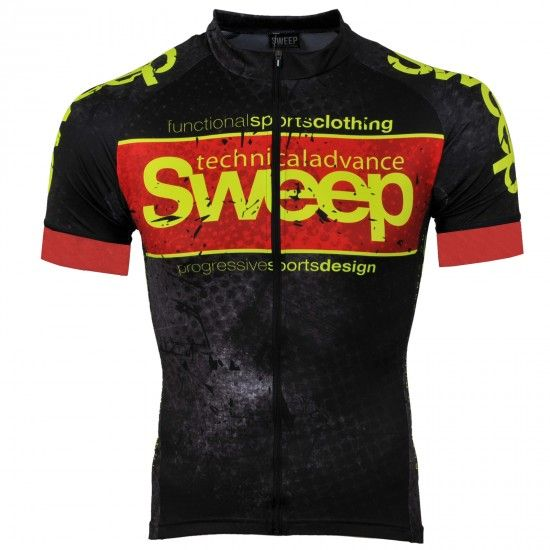 Sweep Elite Progressive Short Sleeve Cycling Jersey Black/Red (D040)