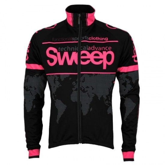 Sweep World Windproof Cycling Jacket Black/Fluo Pink (J009)
