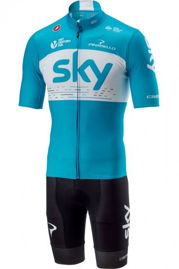 Castelli Team Sky 2018 Team Sky 2018 Training Edition Set - (Podio Jersey + Volo Strap Trousers) - Professional Cycling Team
