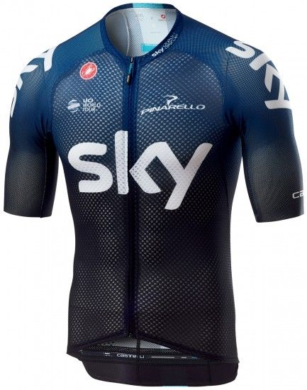 Castelli Team Sky 2019 Climber'S 3.0 Short Sleeve Cycling Jersey (Long Zip) - Professional Cycling Team