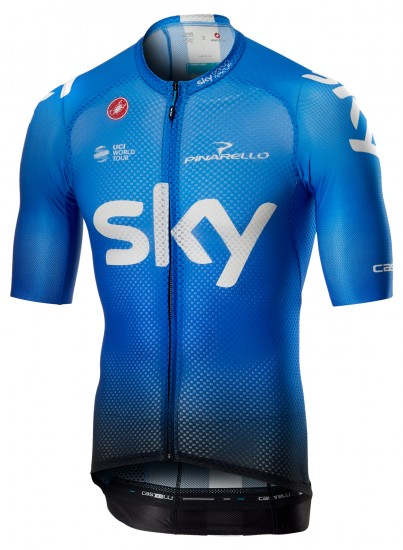Castelli Team Sky 2019 Climber'S 3.0 Training Edition Short Sleeve Cycling Jersey (Long Zip) - Professional Cycling Team