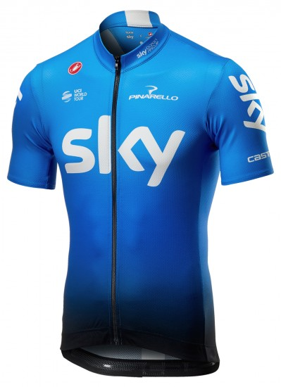 Castelli Team Sky 2019 Fan Training Edition Short Sleeve Cycling Jersey (Long Zip) - Professional Cycling Team