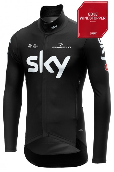 Castelli Team Sky 2019 Perfetto Wind/Waterproof Long Sleeve Jersey - Professional Cycling Team