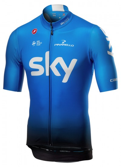 Castelli Team Sky 2019 Squadra Training Edition Short Sleeve Cycling Jersey (Long Zip) - Professional Cycling Team
