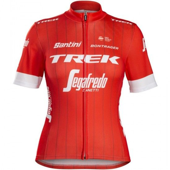 Santini Trek - Segafredo 2018 Womens Short Sleeve Cycling Jersey (Long Zip) - Professional Cycling Team