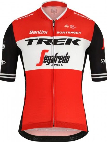 Santini Trek - Segafredo 2019 Short Sleeve Cycling Jersey (Long Zip) - Professional Cycling Team