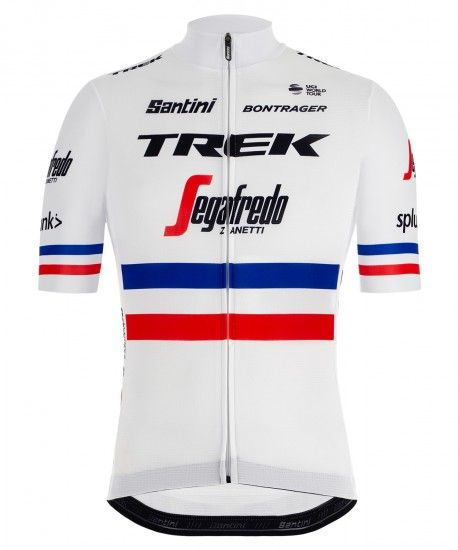 Santini Trek - Segafredo French Champion 2019 Short Sleeve Cycling Jersey (Long Zip) - Professional Cycling Team